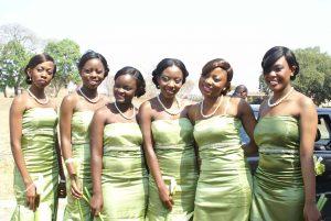 Bridesmaids in green dresses