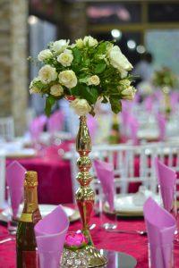 Wedding flower on table