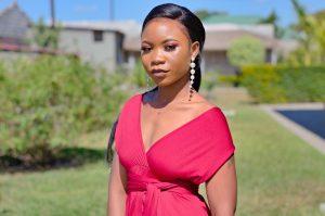 Bridesmaid in maroon dress